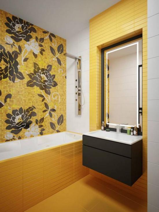 Trendfarben 2021 im Interieur modernes Badezimmer in leuchtendem Gelb sehr schick
