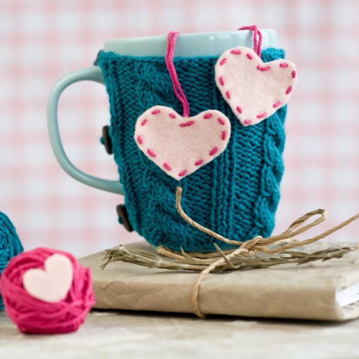 Valentinstag basteln diy ideen deko karte selber machen strick f[r tasse
