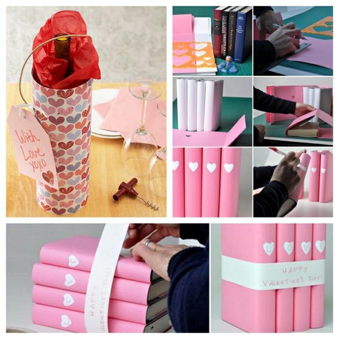 Valentinstag basteln diy ideen deko karte selber machen strick wein_Fotor_Collage