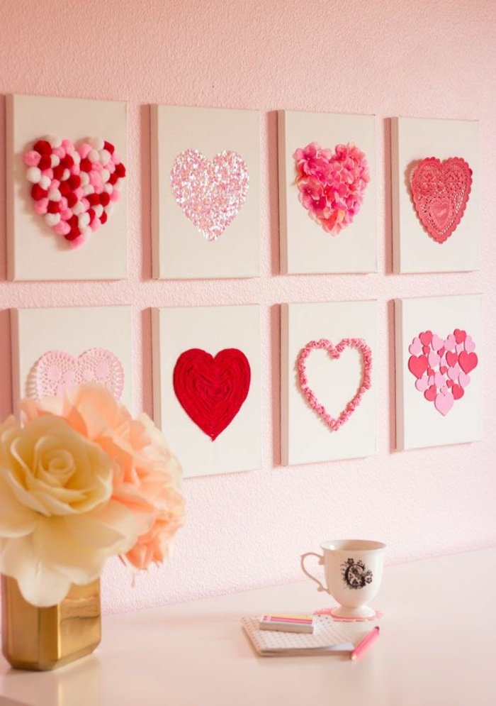 Valentinstag basteln diy ideen deko wandgestaltung