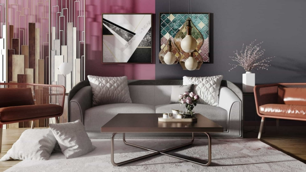 Wandfarben 2021 Trendfarben Farbtrends Rosa und Grau