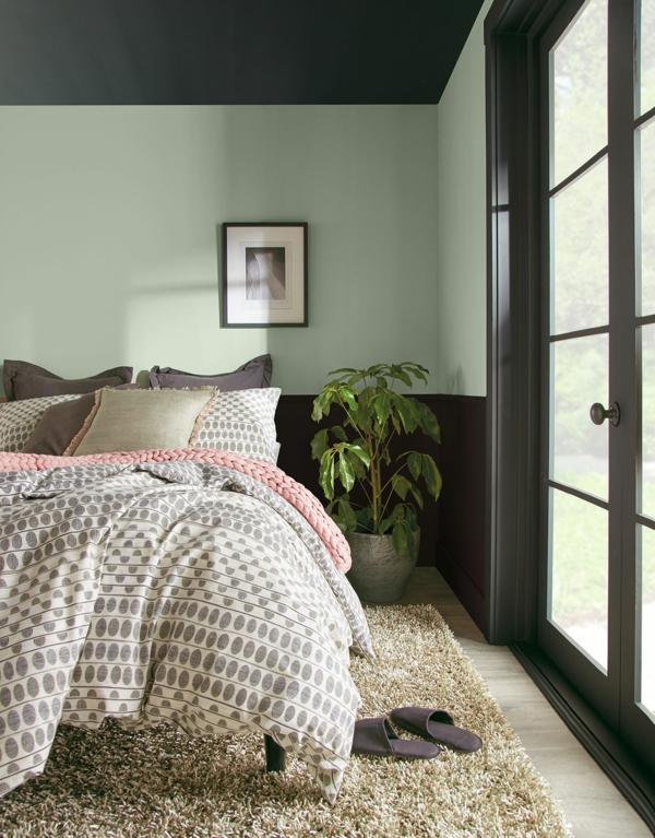 Wandfarben 2021 Trendfarben aktuelle Nuancen Farbkombination Schlafzimmer