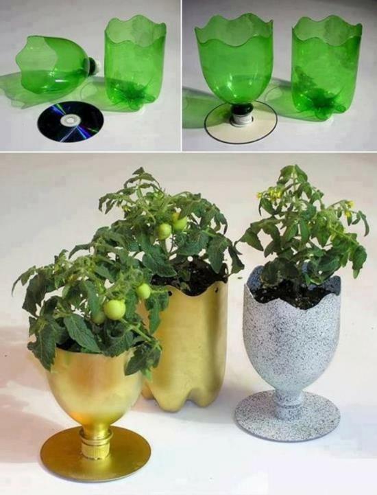 cd blumentöpfe upcycling pet flaschen basteln für erwachsene