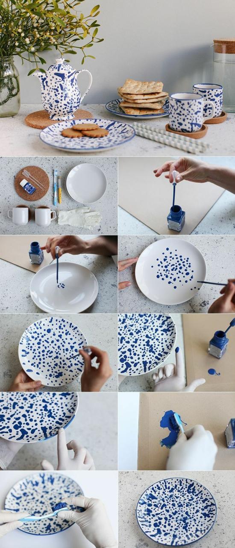 geschirr dekorieren nagellack basteln für erwachsene
