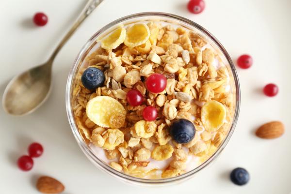 strahlende Gesichtshaut gesunde Lebensmittel Haferflocken mit frischen Früchten richtige Nährstoffbombe morgens