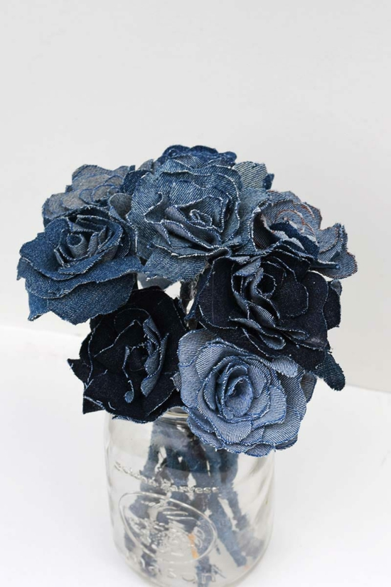 upcycling denim rosen basteln für erwachsene