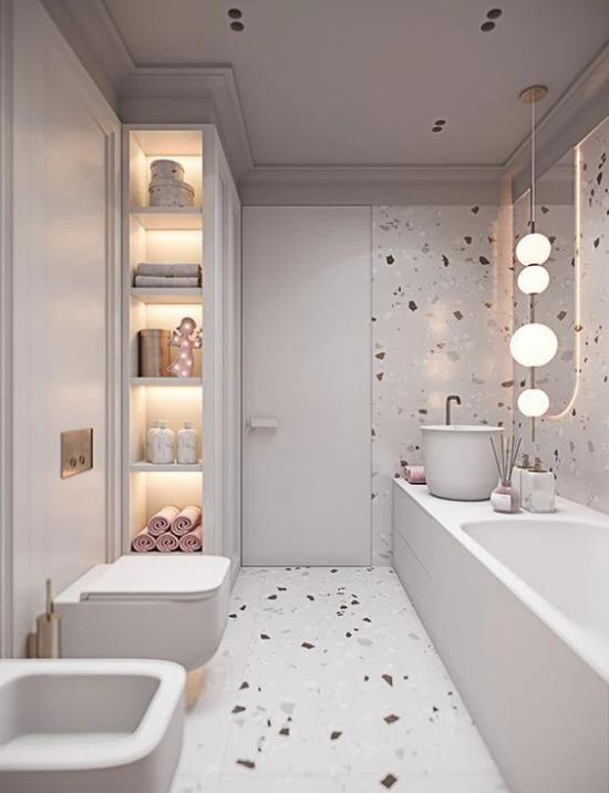 Badezimmer Trends 2021 Terrazzoboden Akzentwand bringen mehr Farbe und Schwung ins weiße Bad