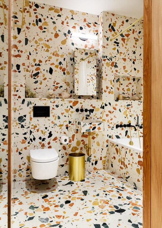 Badezimmer Trends 2021 modernes Bad WC Terrazzo lustig farbenfroh schön modern