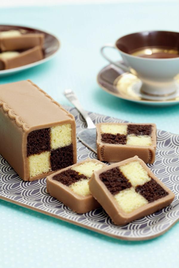 Battenberg Kuchen zubereieten Schoko Geschmack