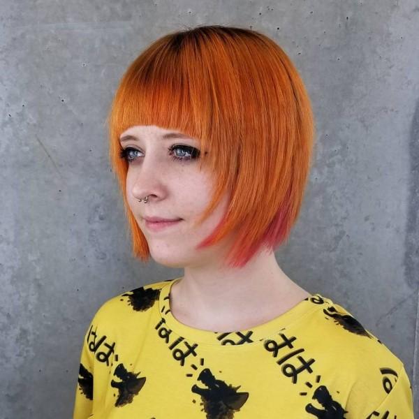 Bob Frisuren mit Pony – Ideen und Stile für kurze bis mittellange Haare orange haare ideen trendy