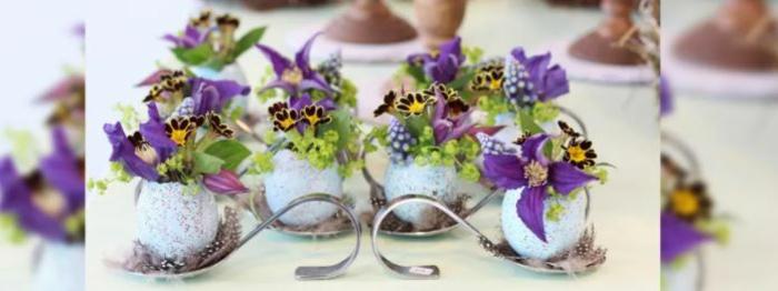 Frühlingsdeko selber machen basteln mit naturmaterialien blumen eier