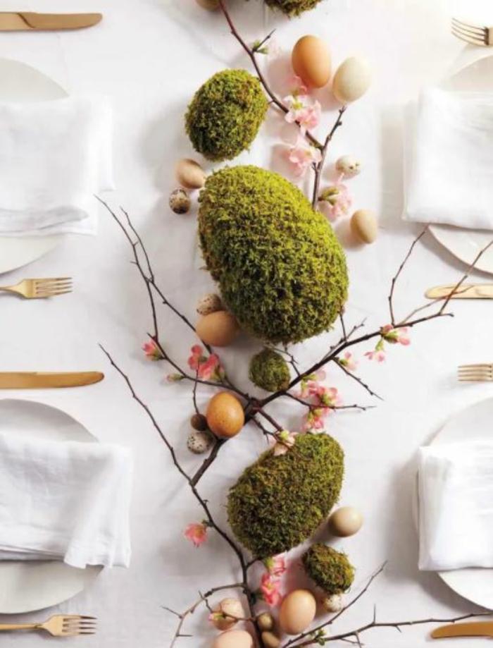 Frühlingsdeko selber machen basteln mit naturmaterialien blumenvase