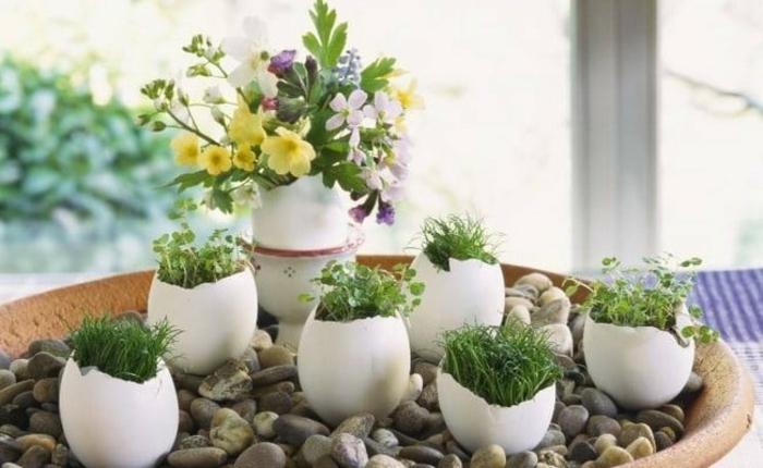 Frühlingsdeko selber machen basteln mit naturmaterialien kresse