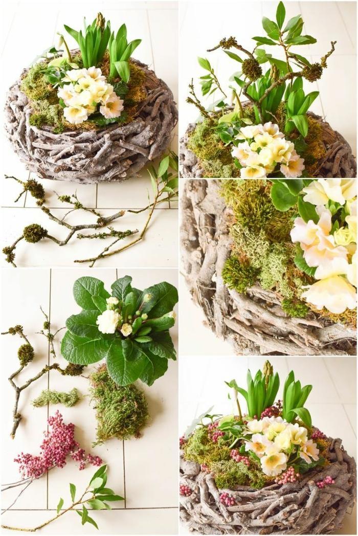 Frühlingsdeko selber machen basteln mit naturmaterialien moos primel