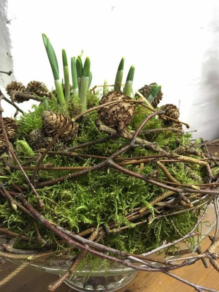 Frühlingsdeko selber machen basteln mit naturmaterialien moos weidenstöcke
