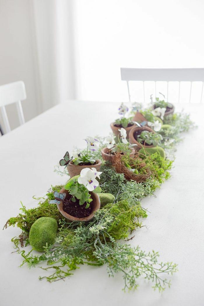 Frühlingsdeko selber machen basteln mit naturmaterialien moos
