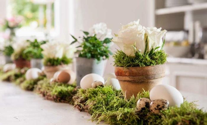 Frühlingsdeko selber machen basteln mit naturmaterialien tischdeko