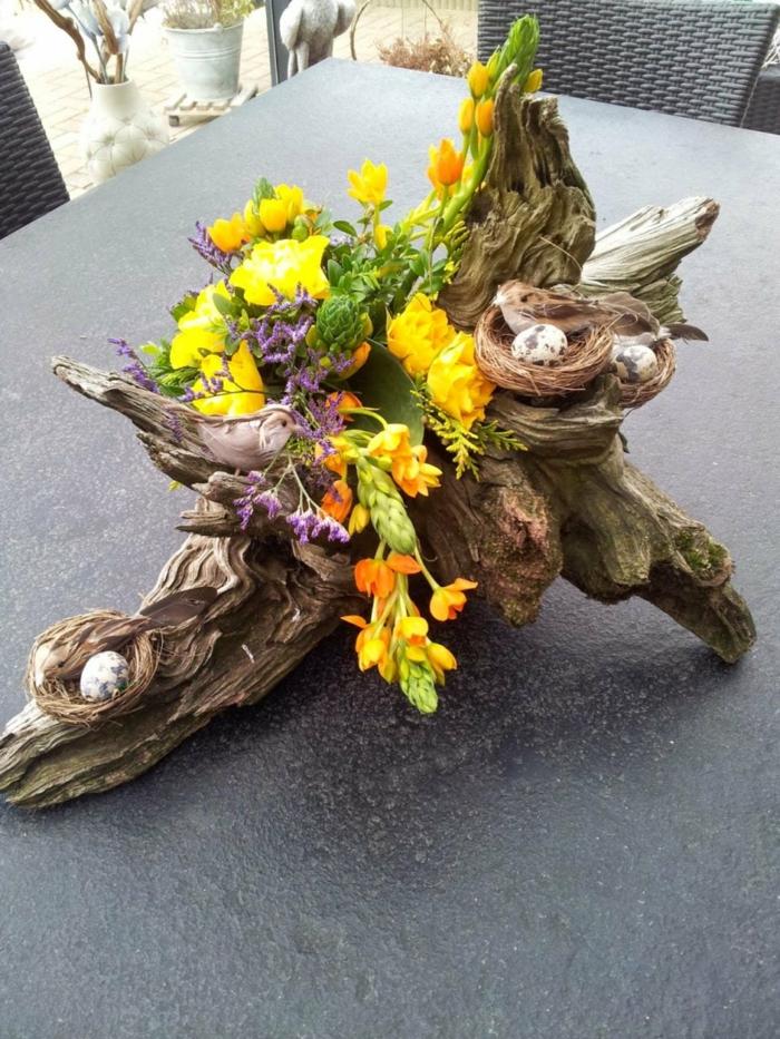 Frühlingsdeko selber machen basteln mit naturmaterialien treibholz