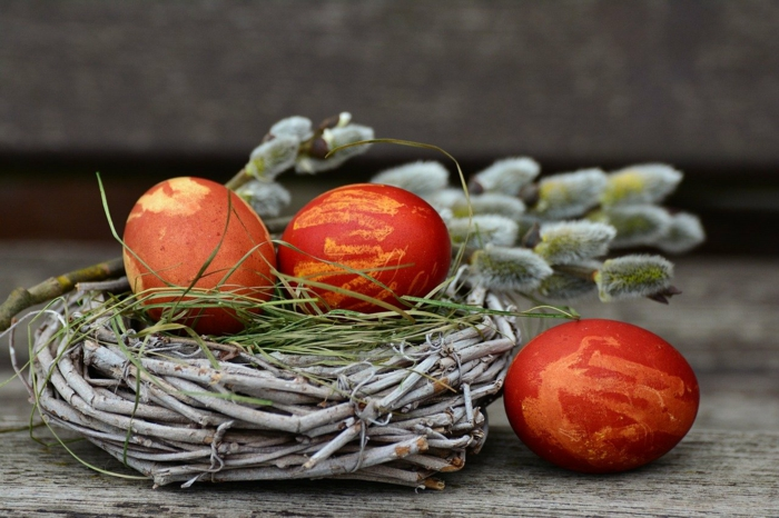 Frühlingsdeko selber machen basteln mit naturmaterialien weidenkranz