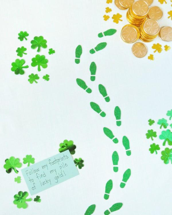 Kleeblatt basteln mit Kindern und Erwachsenen – Ideen und Anleitungen zum St. Patrick's Day goldschatz pfad kinder ideen