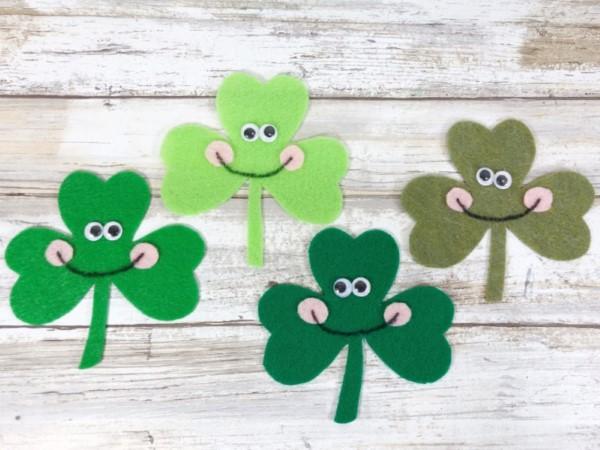 Kleeblatt basteln mit Kindern und Erwachsenen – Ideen und Anleitungen zum St. Patrick's Day magnete kinder ideen filz