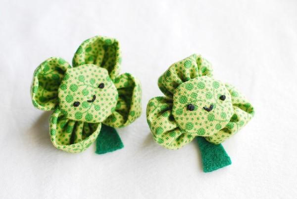 Kleeblatt basteln mit Kindern und Erwachsenen – Ideen und Anleitungen zum St. Patrick's Day pin mit schamrock nähen