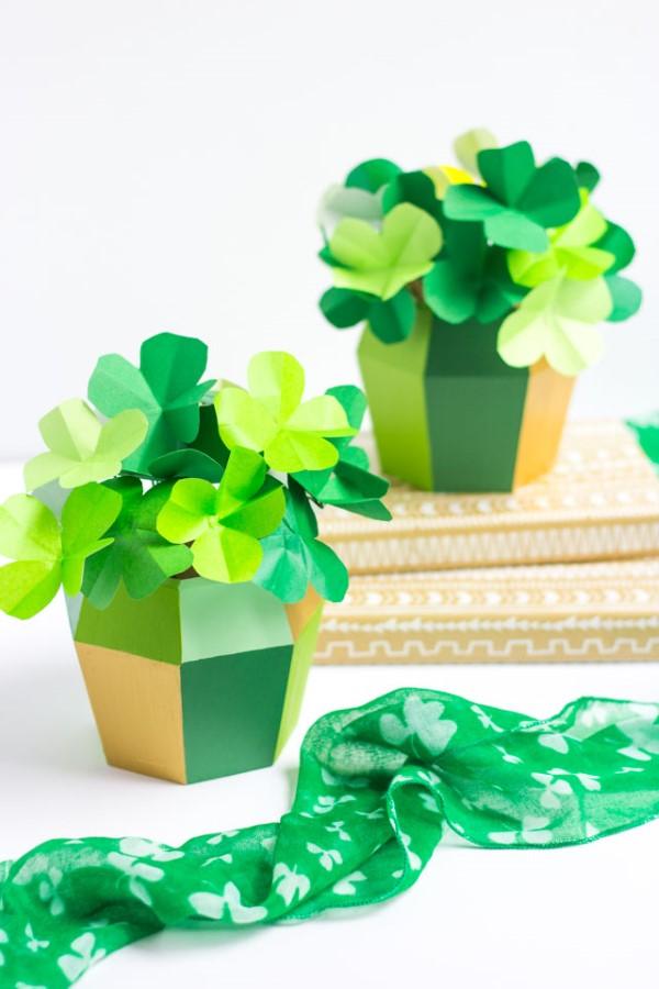 Kleeblatt basteln mit Kindern und Erwachsenen – Ideen und Anleitungen zum St. Patrick's Day tischdeko mit klee papier