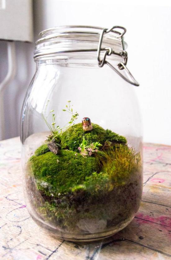 Minigarten im Glas anlegen tolles Arrangement im Glasbehälter mit kleiner Tierfigur dekorieren