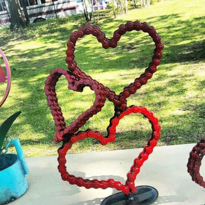 Rostige Gartendeko fahrradkette herz