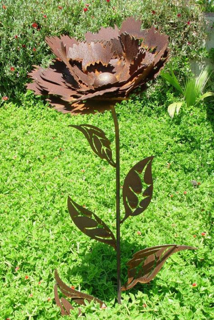 Rostige Gartendeko sonnenblumen