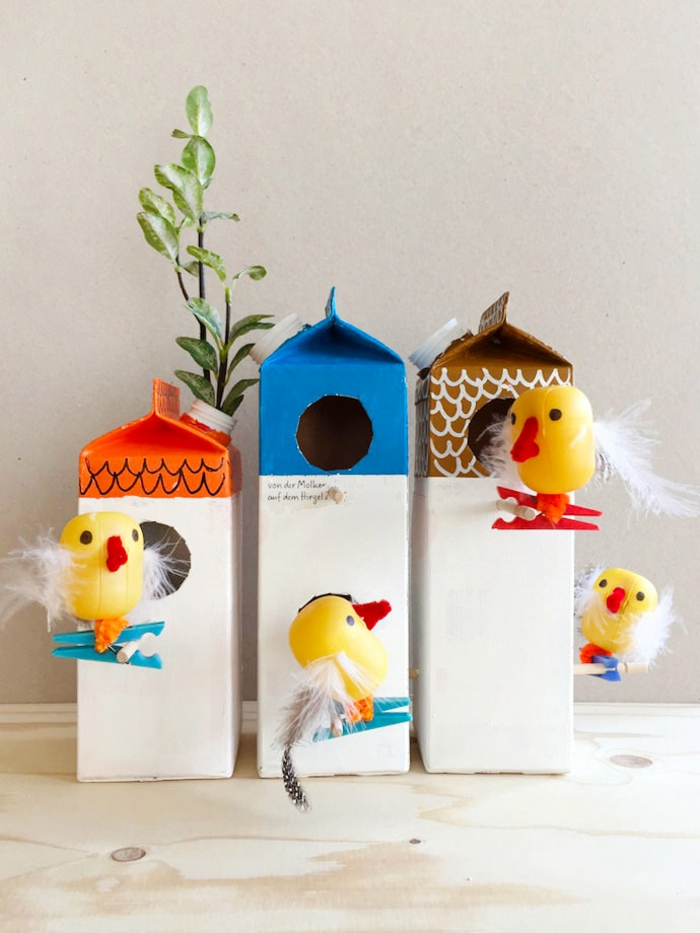 basteln mit kindern im frühling upcycling ideen biene vogel