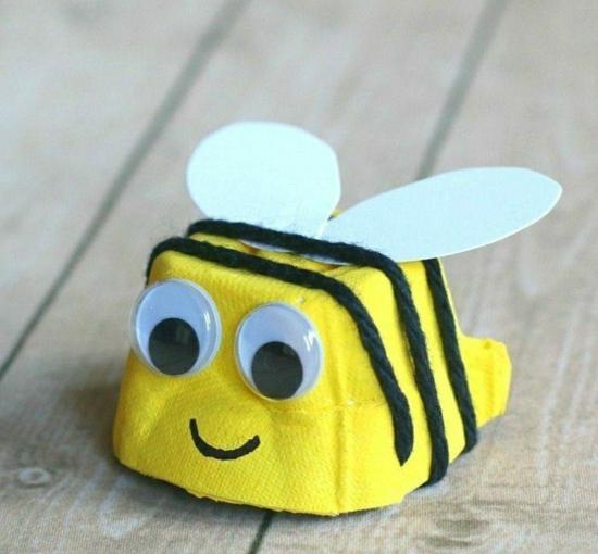 eierkarton bienen basteln mit kindern