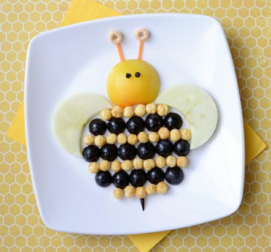 essbare bienen basteln für kindern aus lebensmitteln
