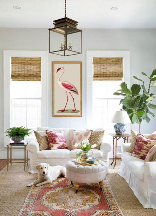 frühlingshafte Dekoideen für das Wohnzimmer schöner Raum gedeckte Farben richtige Farbpalette