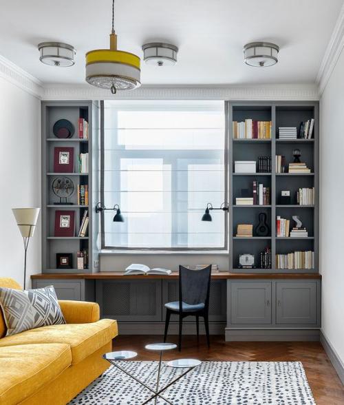 gelbe Akzente im Home Office Büro Inspiration bequeme gelbe Couch warme Ausstrahlung sehr ansprechendes Ambiente
