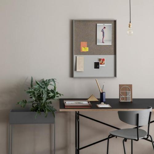 gelbe Akzente im Home Office Büro Inspiration einfache Einrichtung Wandtafel bunte Zettel
