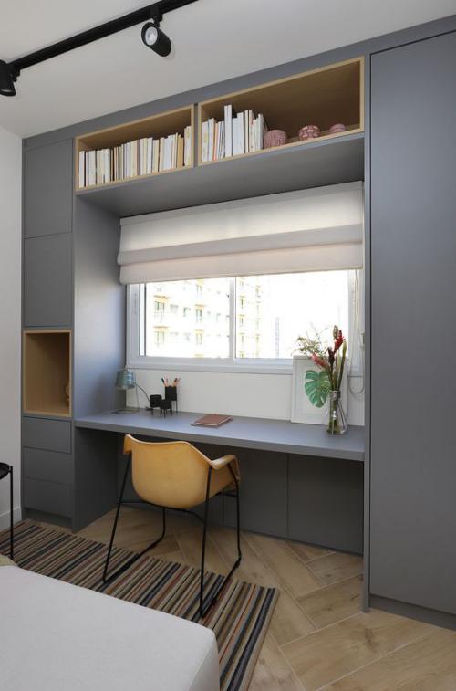 gelbe Akzente im Home Office Büro Inspiration gelber Blickfang ein einfacher Schreibtischstuhl