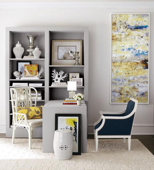 gelbe Akzente im Home Office Büro Inspiration modern mit klassischen Elementen gelbe Akzente im Heimbüro verteilt