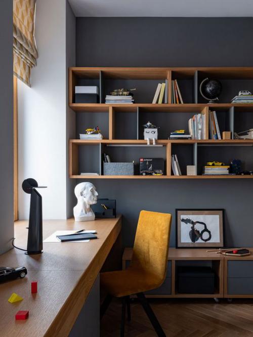 gelbe Akzente im Home Office Büro Inspiration schöpferische Atmosphäre ein sonnengelber Stuhl