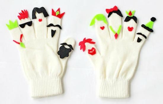 handpuppen selber machen aus handschuhen