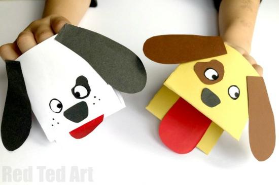 handpuppen selber machen aus papier