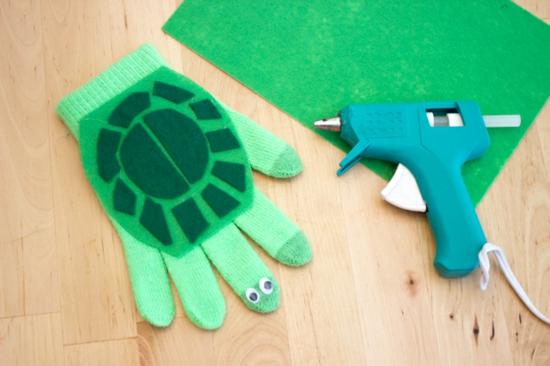 handpuppen selber machen schildkröte aus handschuh