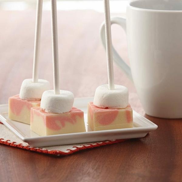 heiße Schokolade am Stiel selber zubereiten Pfeferminz weiße Schokolade