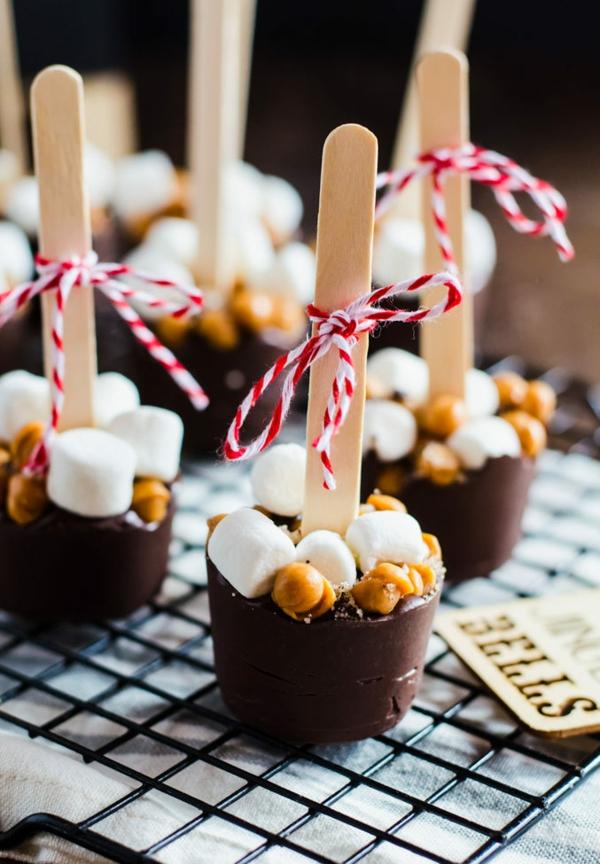 heiße Schokolade am Stiel selber zubereiten Schokoladensticks