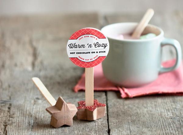 heiße Schokolade am Stiel selbstgemachte Schokoladensticks
