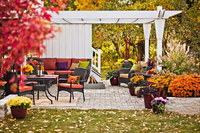 kleinen Garten gestalten Überdach schöne herbstliche Farben Orange Rot Gelb Braun visuelle Kraft verändern den Gartenlook