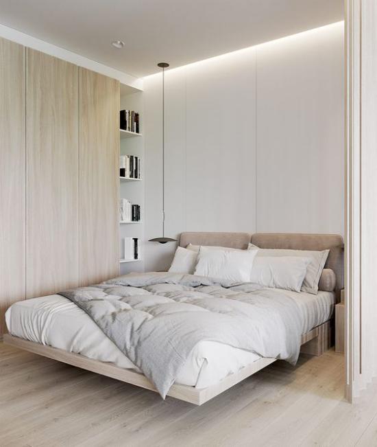 kleines Schlafzimmer optisch erweitern helles Ambiente deckenhohe eingebaute Kleiderschränke gute Staumöglichkeit