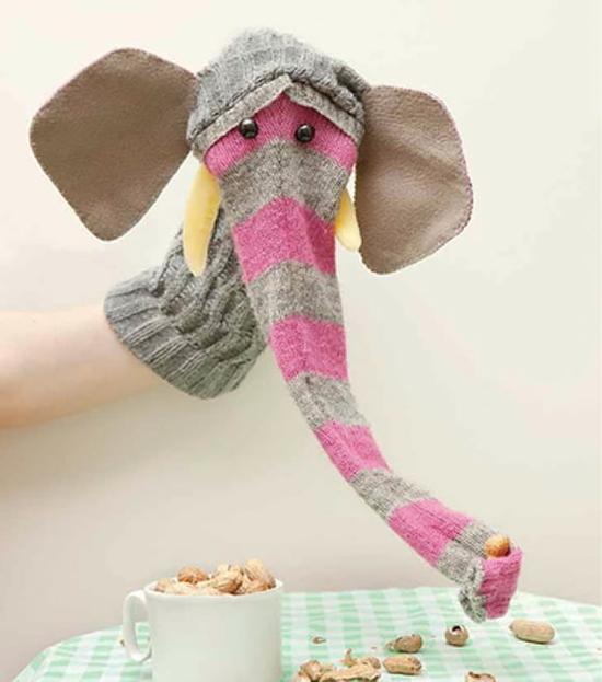pullover handpuppen selber machen elefanten