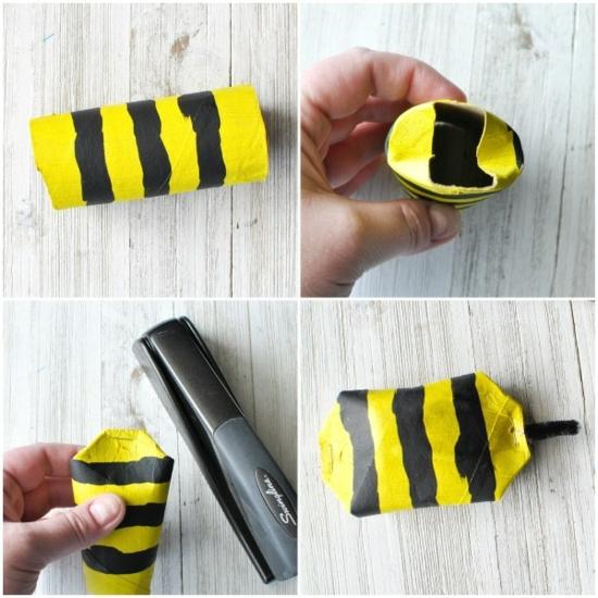recycled bienen basteln aus klopapierrollen