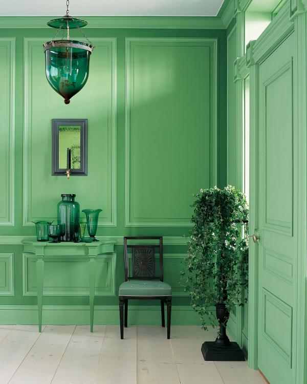 Aktuelle Wandfarben alles in Pastellgrün dominierende effektvolle Farbe